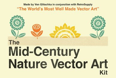 The Mid Century Nature Vector Art Kit
