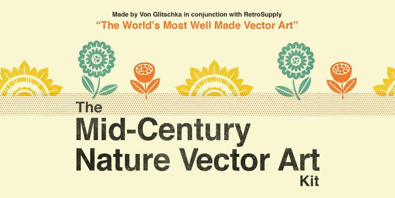 The Mid Century Nature Vector Art Kit