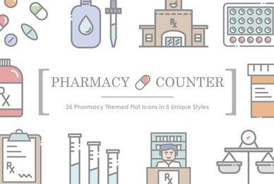 Pharmacy Counter Icon Set