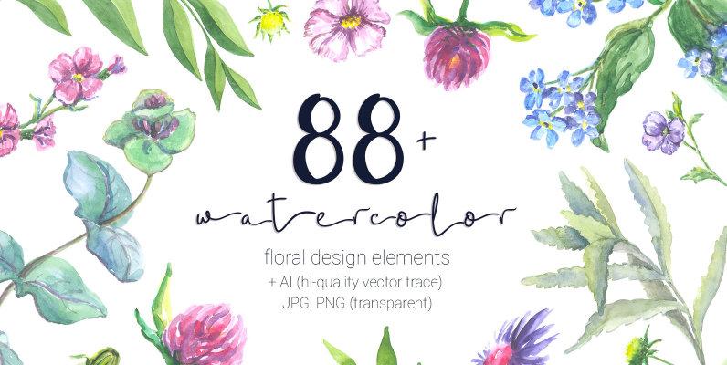 88 Watercolor Floral Set