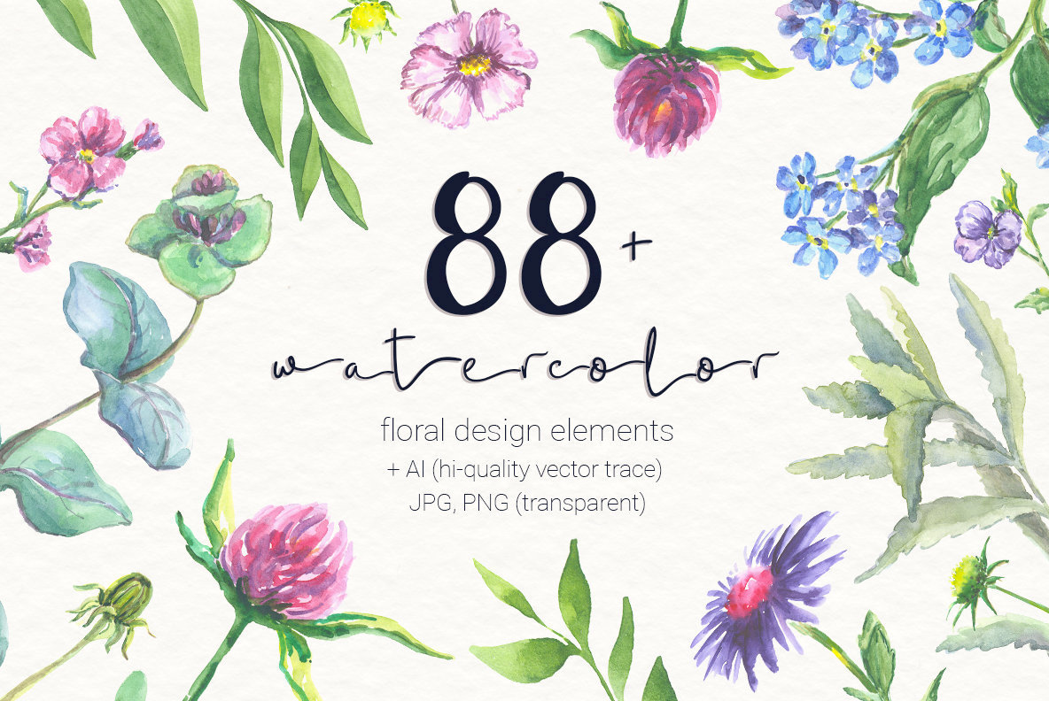 88 Watercolor Floral Set