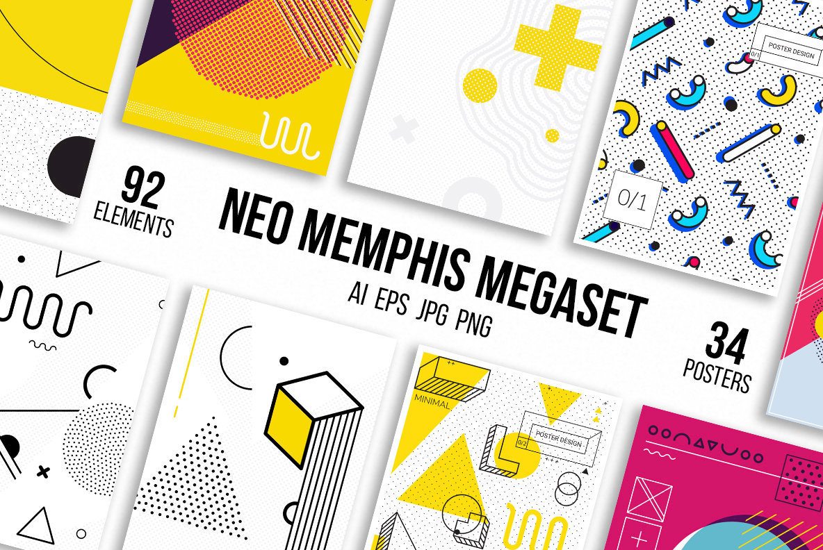 neo memphis mega set graphics youworkforthem