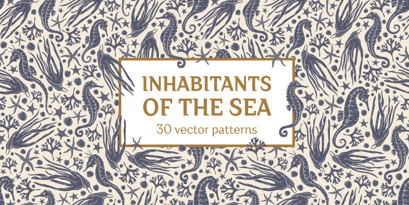 Inhabitants of the sea patterns