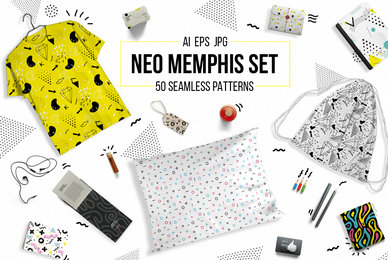 50 Memphis Seamless Patterns