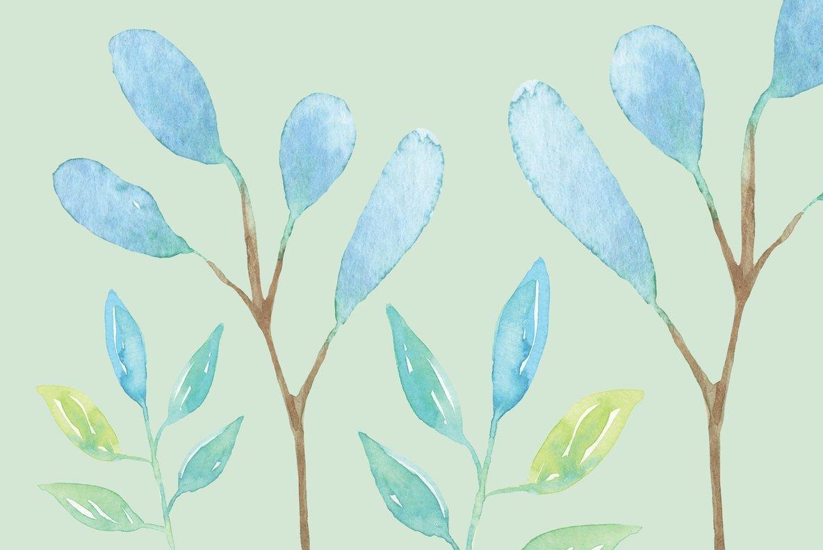 Blue Hue Flower Watercolor Package