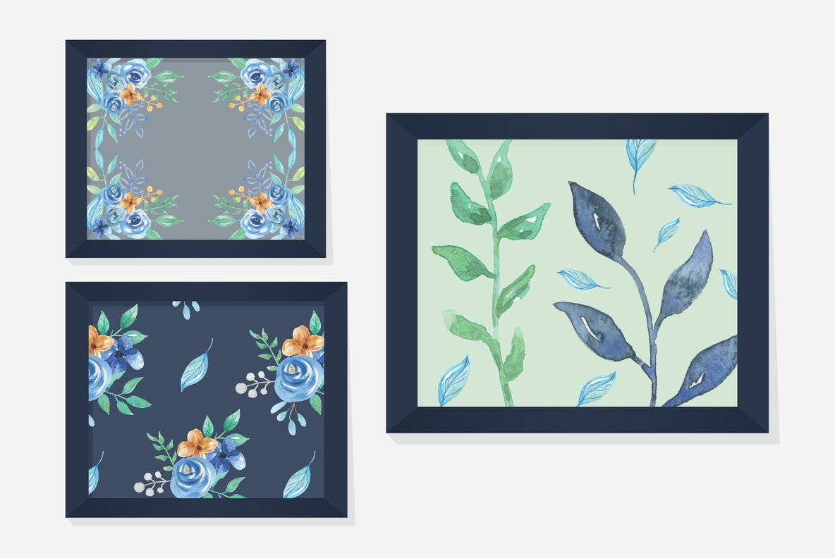 Blue Hue Flower Watercolor Package