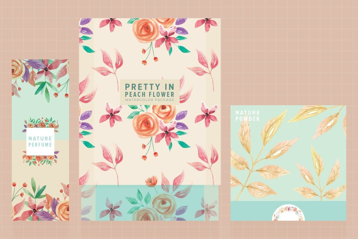 Pretty in Peach Flower Watercolor Package