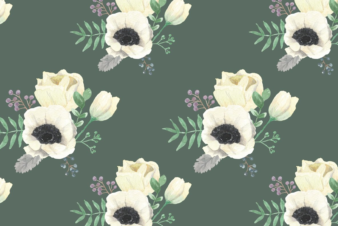 Winter Anemones Flower Watercolor Package
