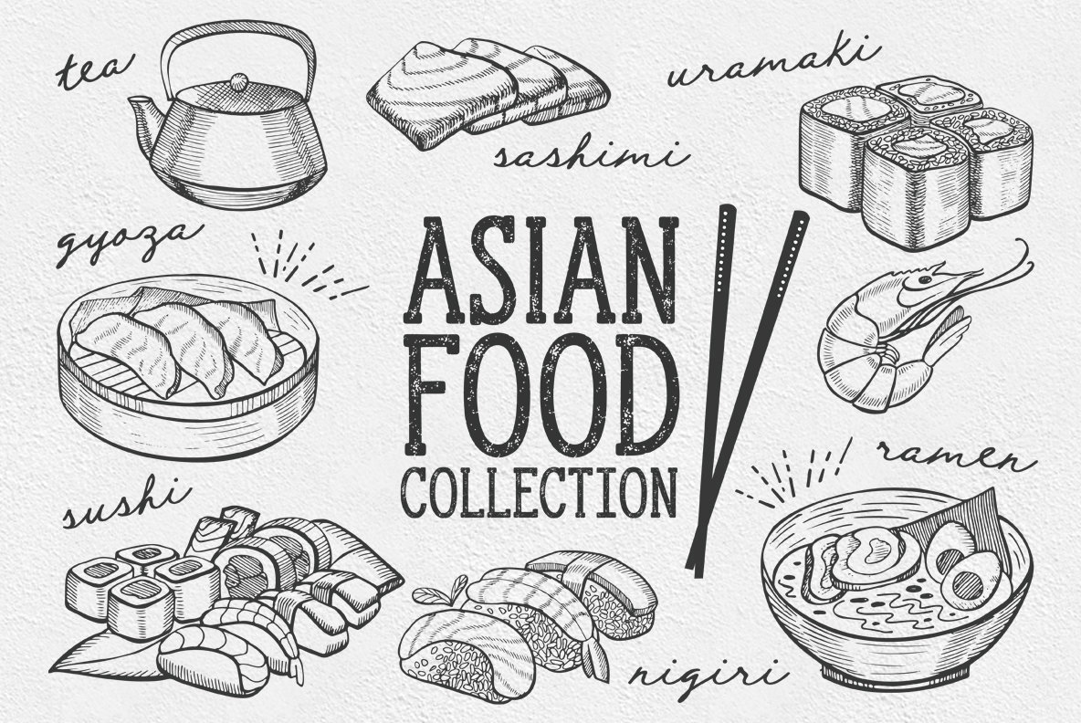 Asian Food Illustrations