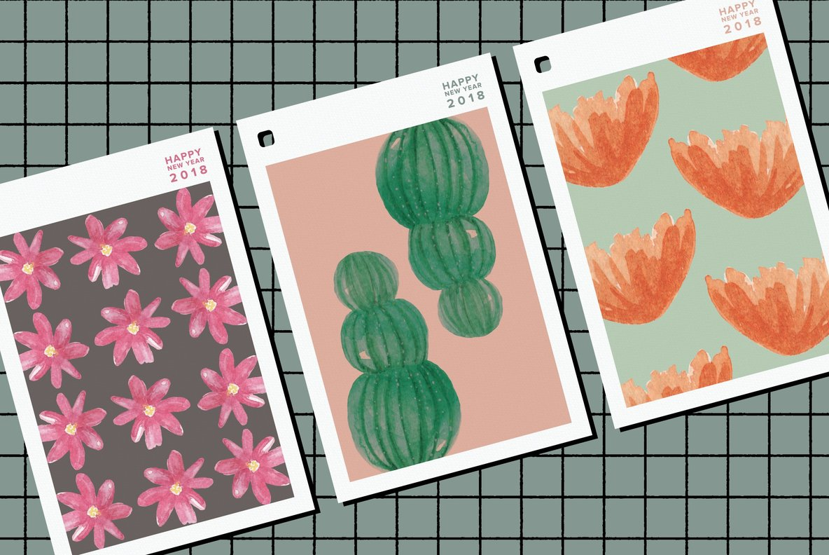 Cactus Flower Watercolor Package