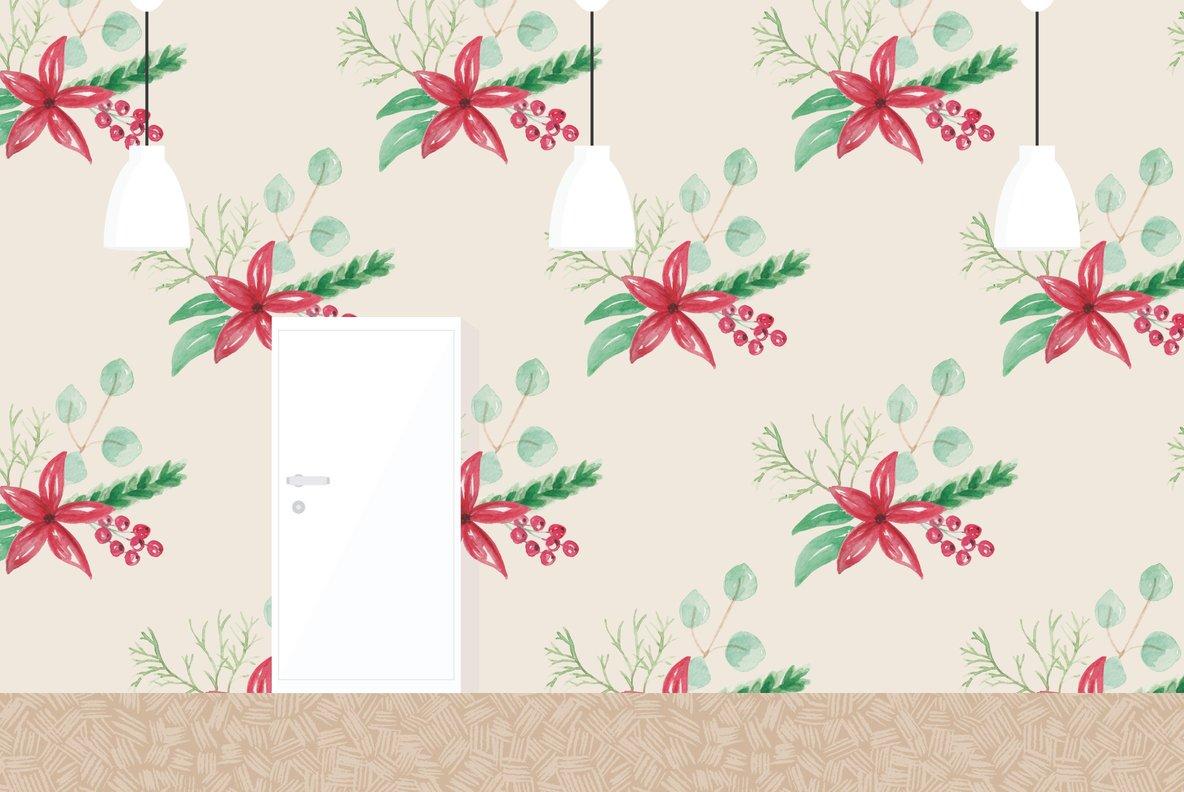 Festive Christmas Flower Watercolor Package