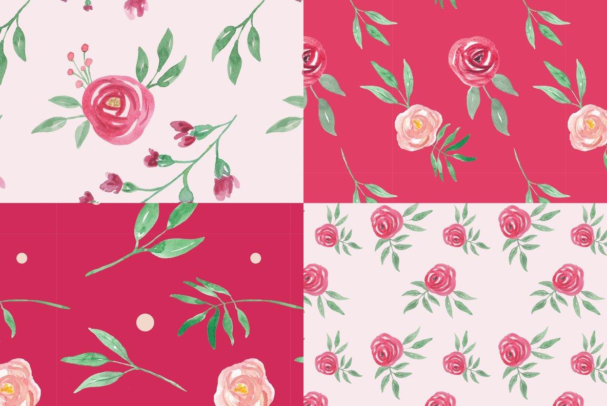 Rose Crimson Watercolor Package