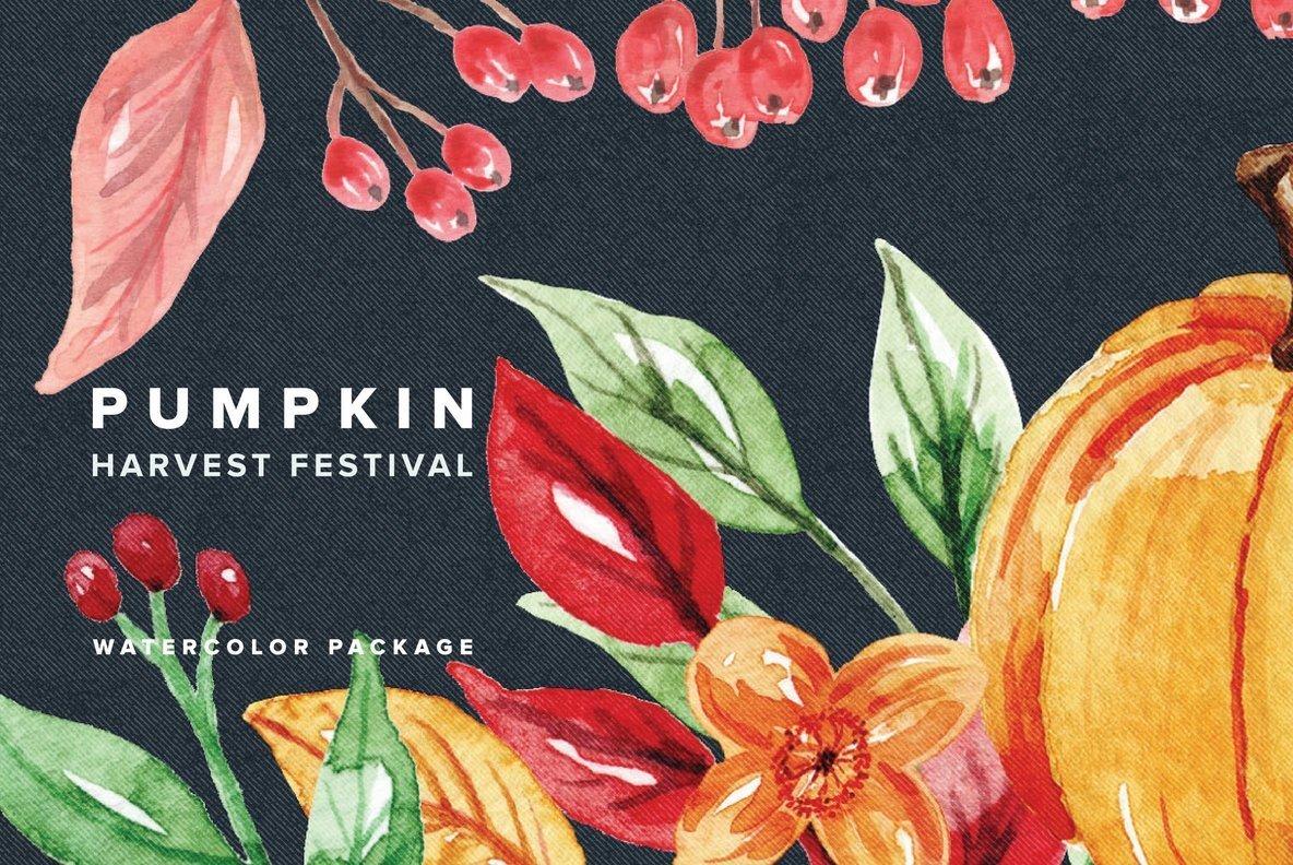 Pumpkin Harvest Festival Watercolor Package