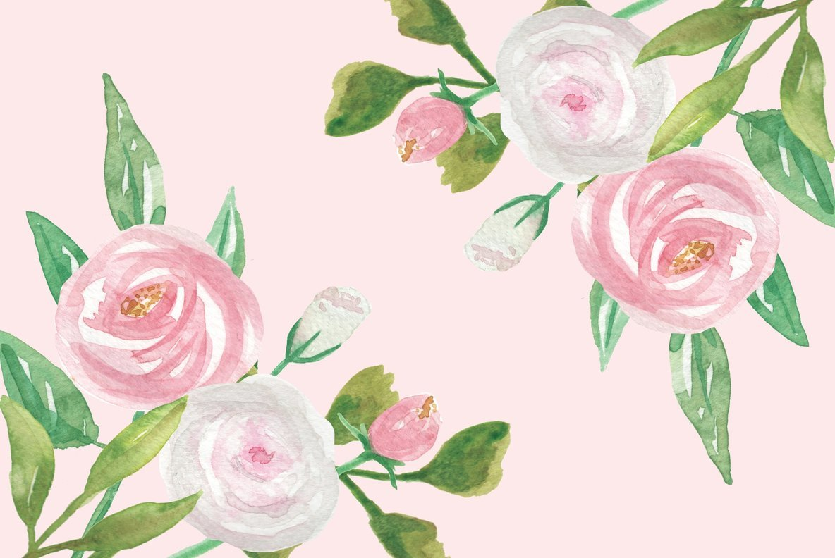 Union Pink Flower Watercolor Package