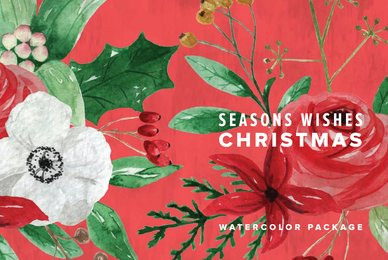 Seasons Wishes Christmas Watercolor Package