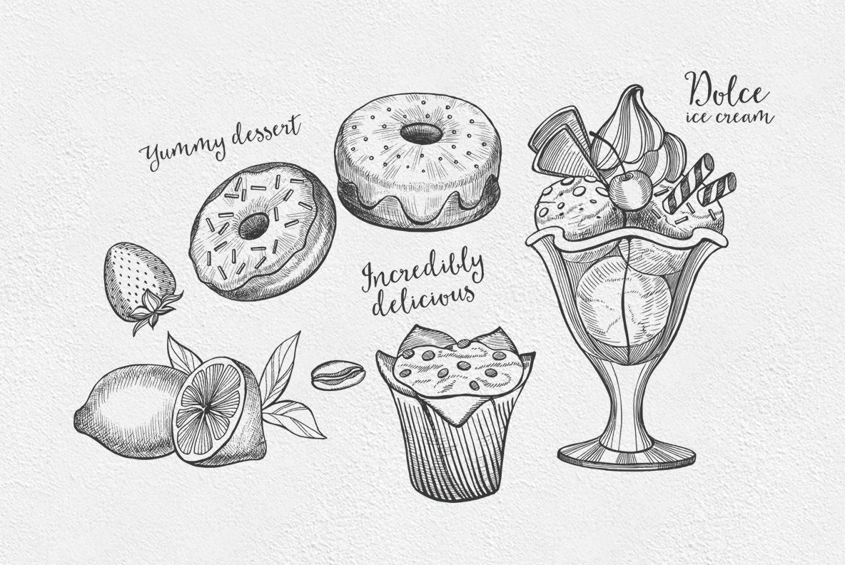 Dessert Food Illustrations