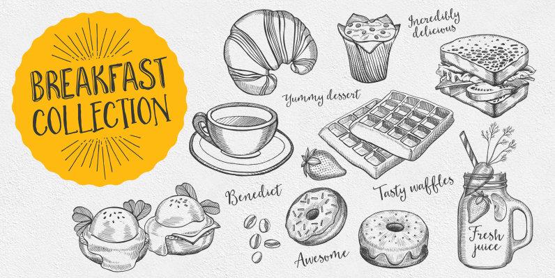 Breakfast Food Illustrations