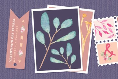 Valentine039 s Day Floral Watercolor Package
