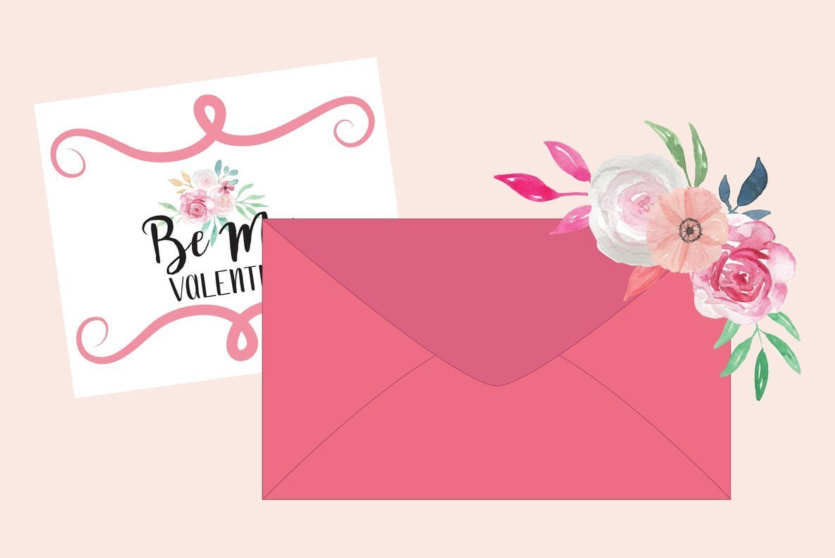 Valentine s Day Floral Watercolor Package