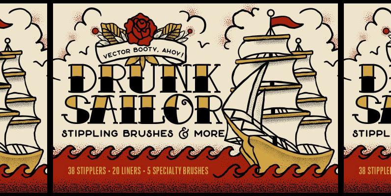 Drunk Sailor   Vector Stippling Brushes   More