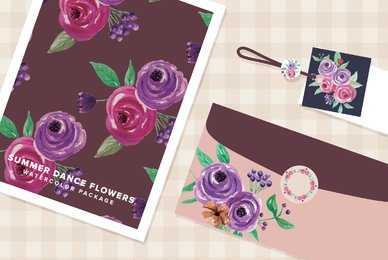 Summer Dance Flowers Watercolor Package