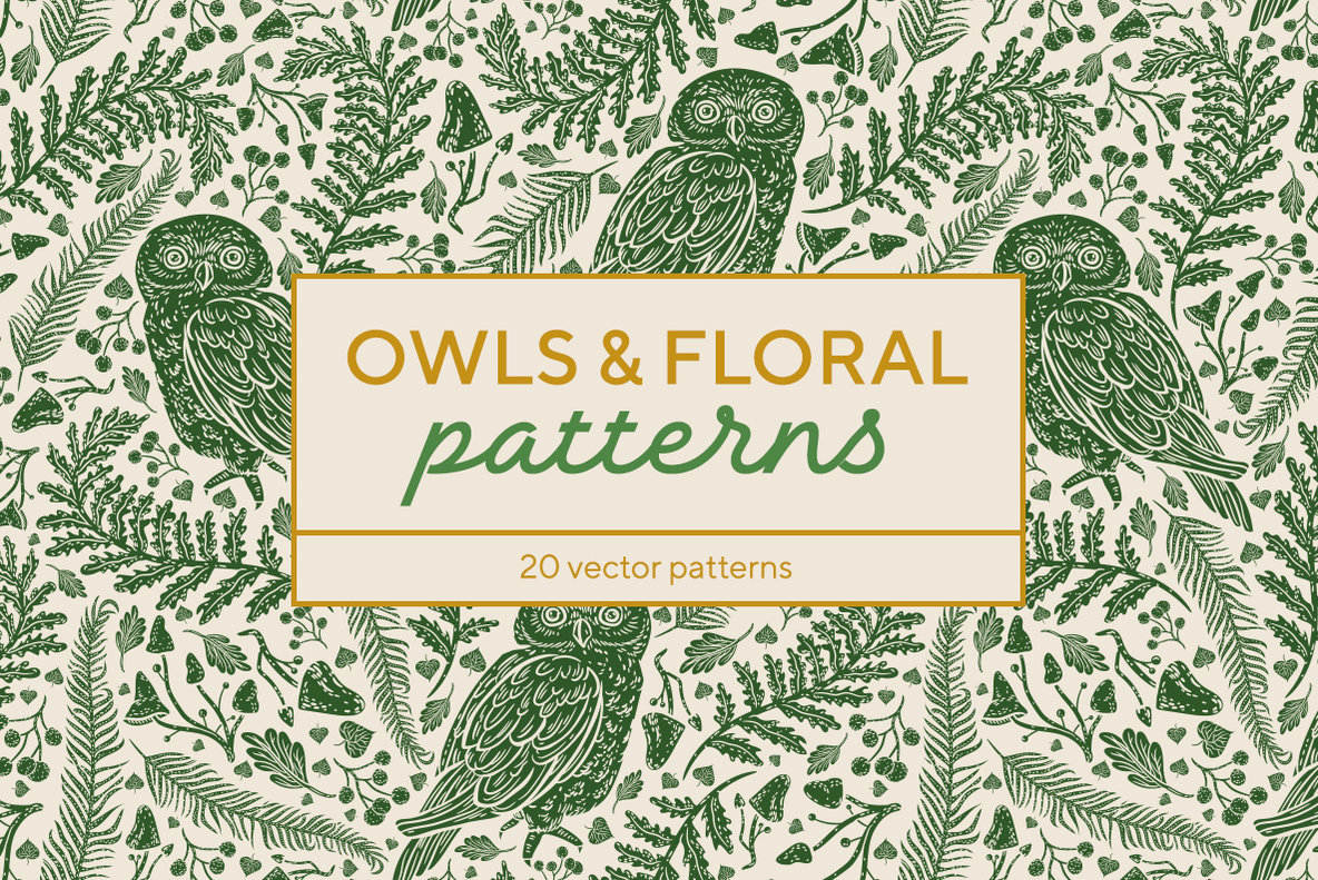 Owls   Floral Patterns