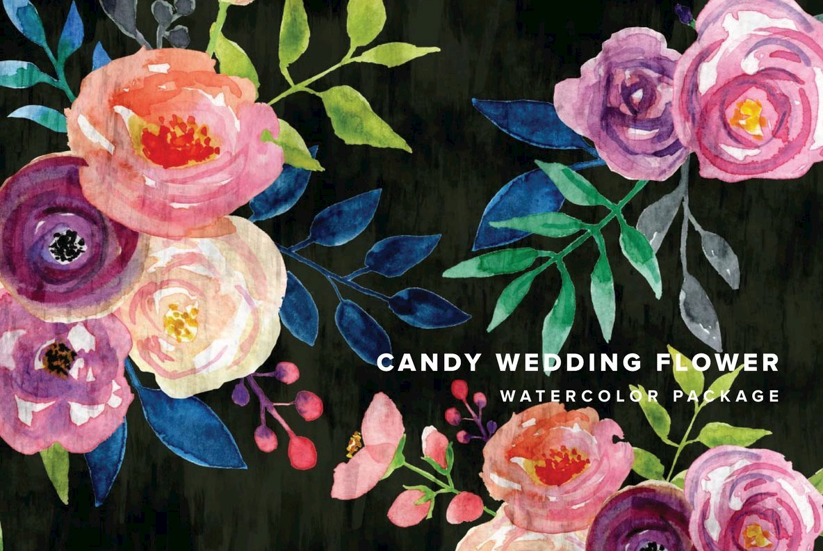 Candy Wedding Flower Watercolor Package