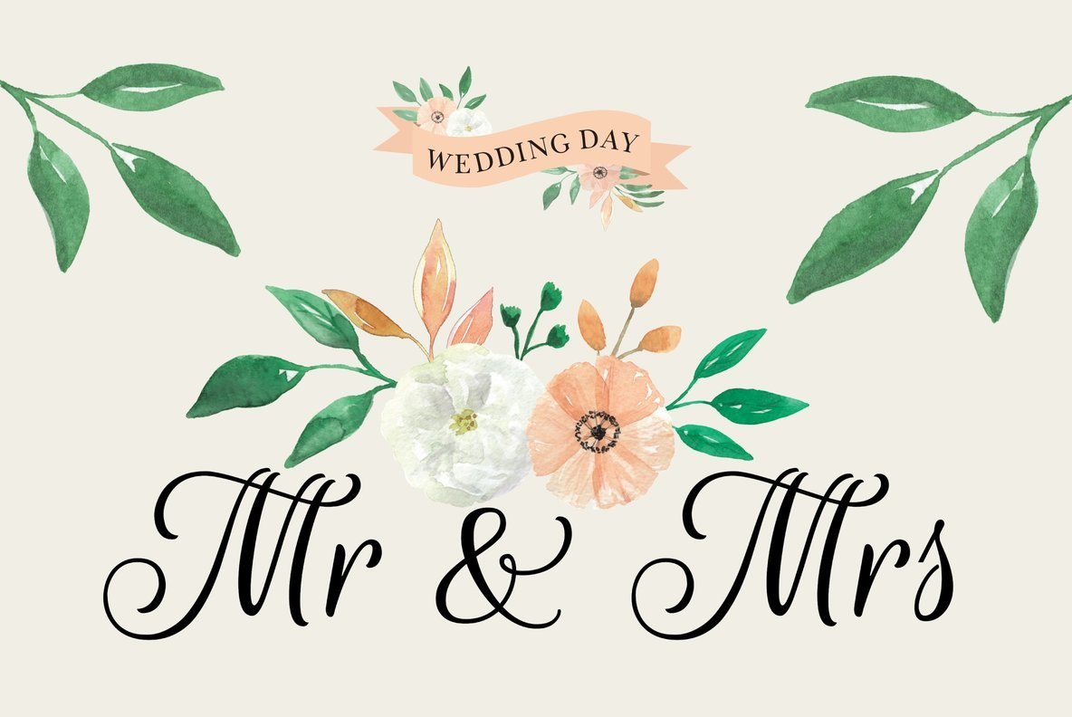 Peach Wedding Flowers Watercolor Package