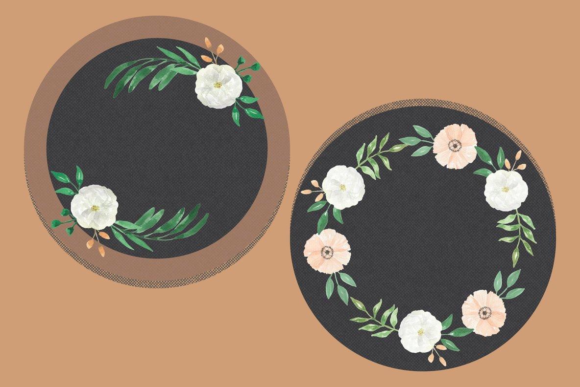 Peach Wedding Flowers Watercolor Package