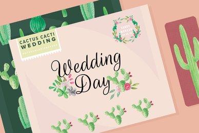 Cactus Cacti Wedding Watercolor Package