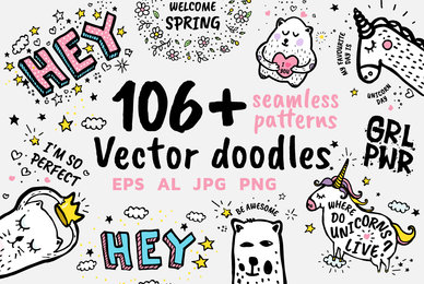 106  Vector Doodles  Seamless Patterns