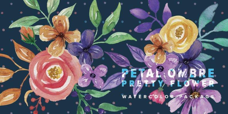 Petal Ombre Pretty Flower Watercolor Package