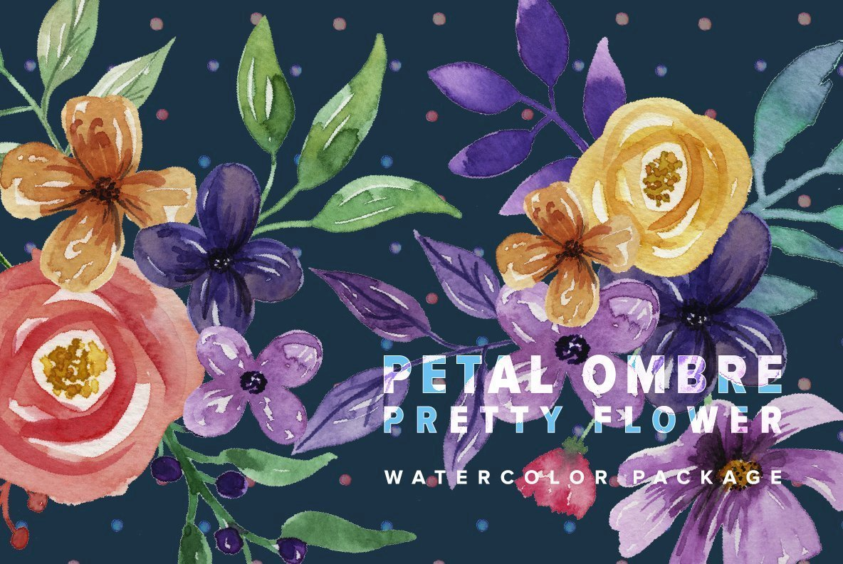 Petal Ombre Pretty Flower Watercolor Package