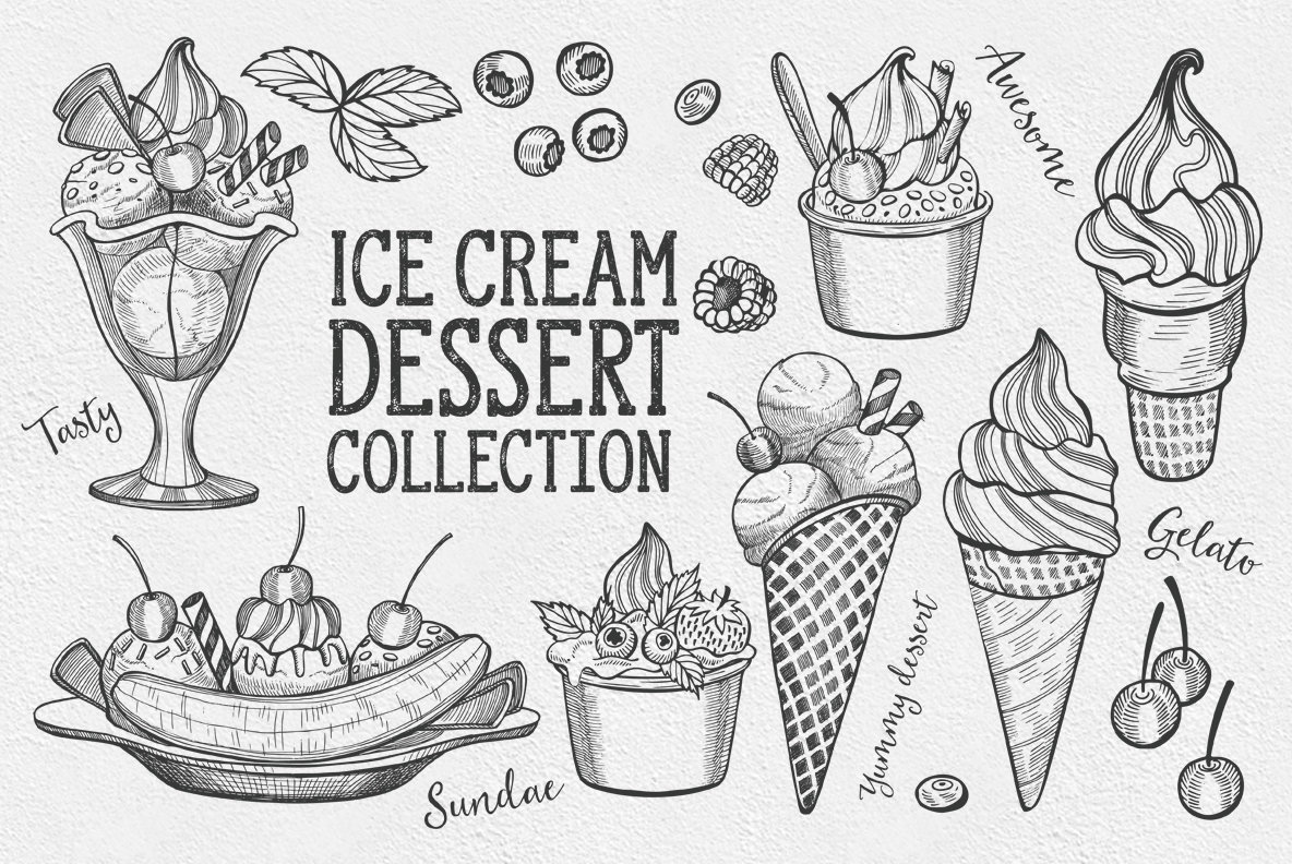 Ice Cream Dessert Illustrations
