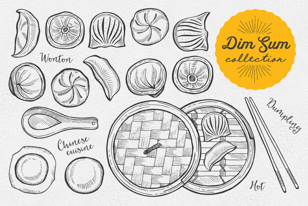 Dumpling Food Illustrations