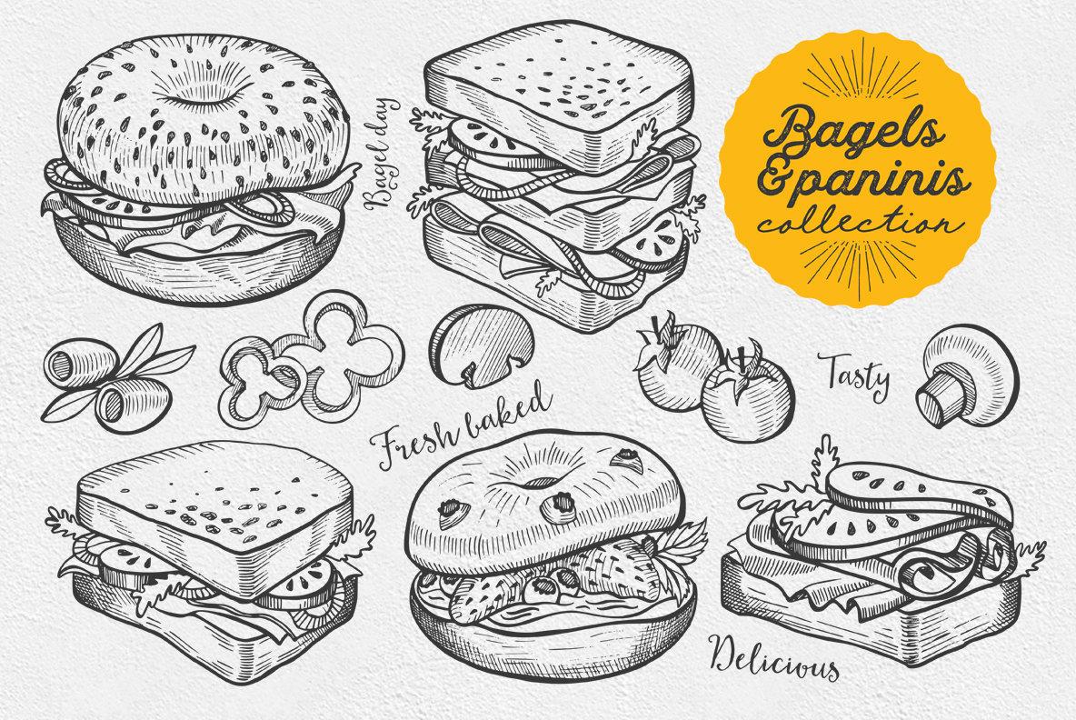 Bagel Food Illustrations