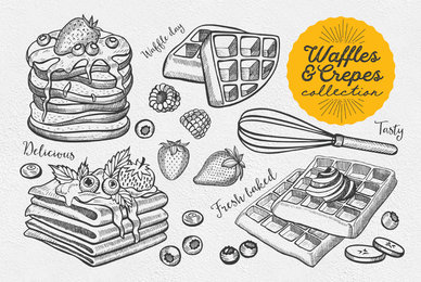 Crepes Dessert Food Illustrations