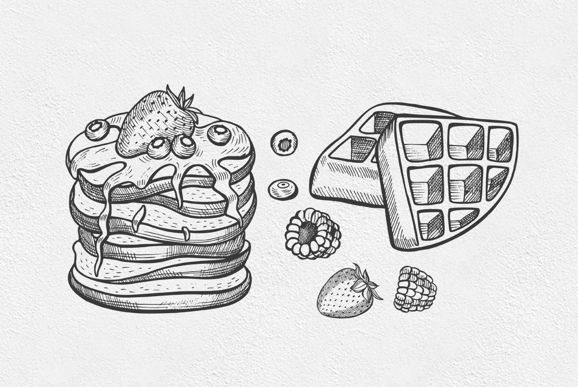 Crepes Dessert Food Illustrations