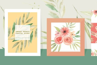 Sweet Peach Pastel Huge Watercolor Package