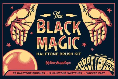 Black Magic Halftones   Vector Halftone Pattern Brushes