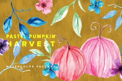Pastel Pumpkin Harvest Watercolor Package