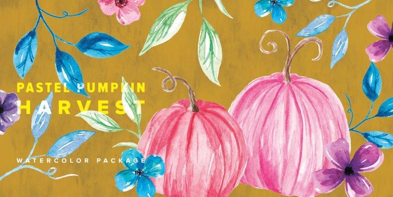 Pastel Pumpkin Harvest Watercolor Package