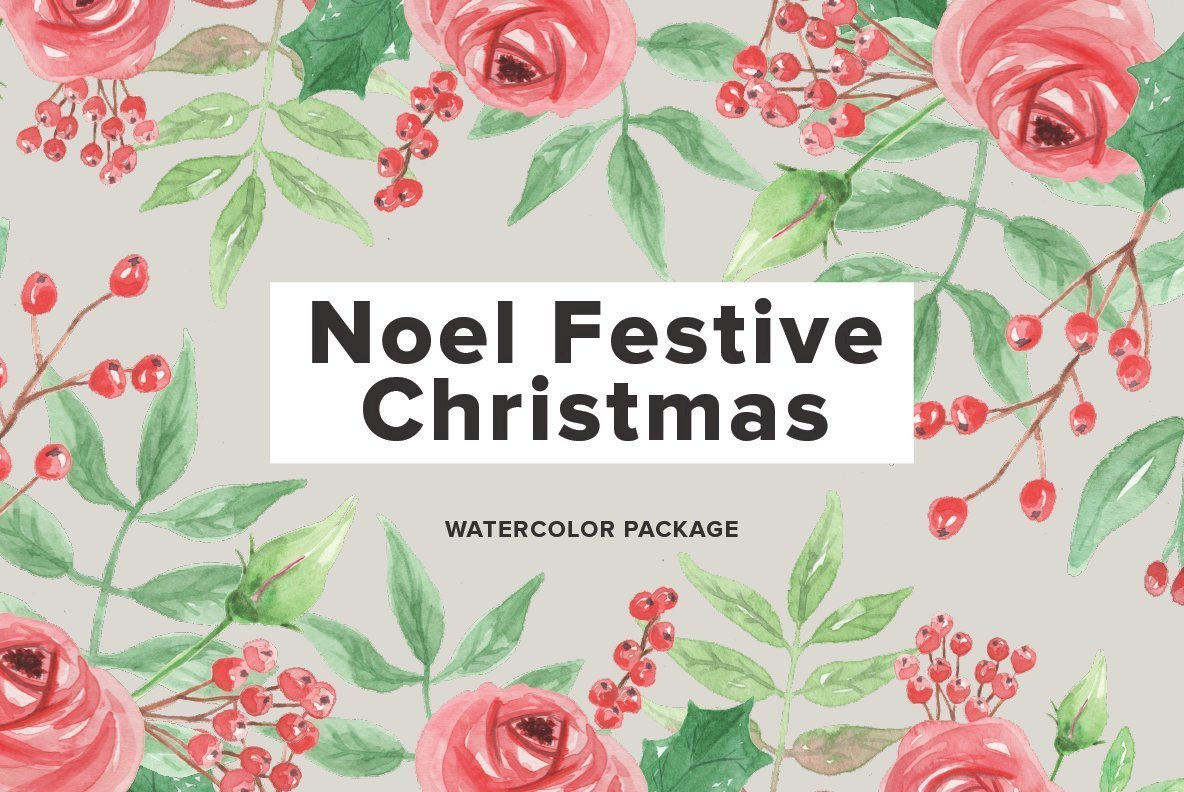 Noel Festive Christmas Watercolor Package