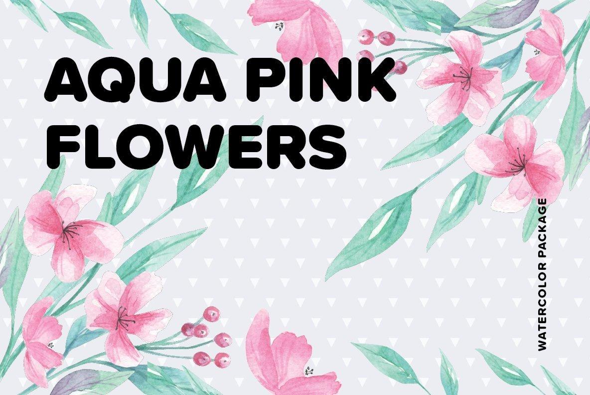 Aqua Pink Flowers Watercolor Package