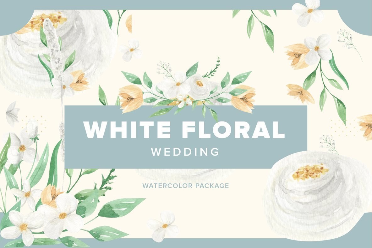 White Floral Wedding Watercolor Package