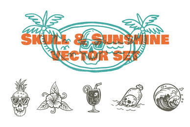 Skull  Sunshine Vector Set