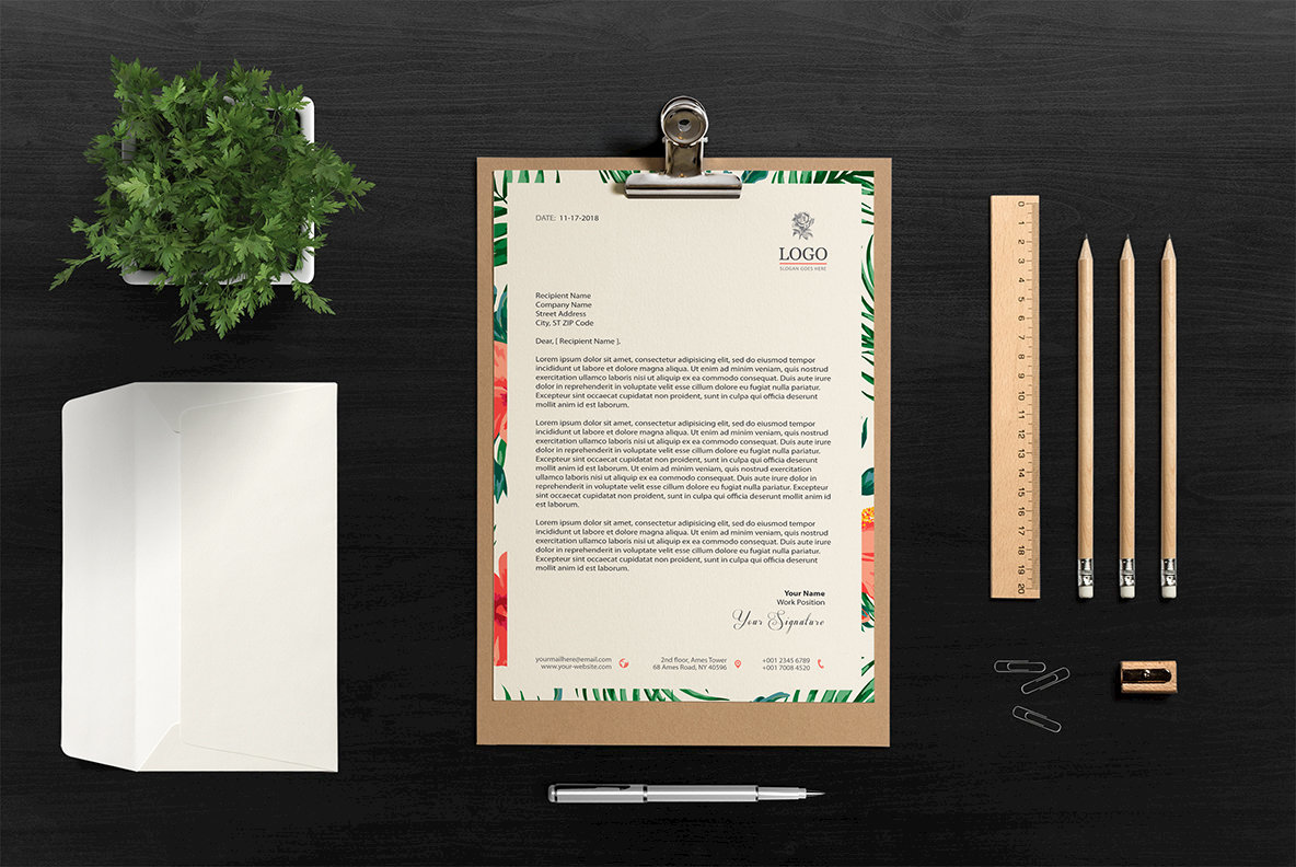 A4 One Page Letterhead   Invoice   Resume Mockup