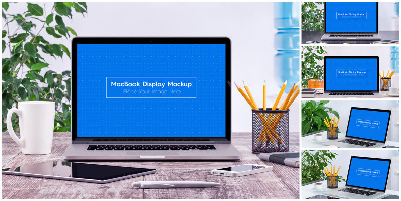 5 Workplace MacBook Display Mockups
