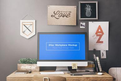 iMac Workspace   Workstation Mockups