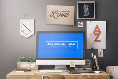 iMac Workspace   Workstation Mockups